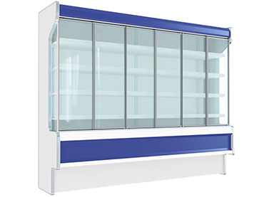Glass systems for normal temperature vertical cabinets